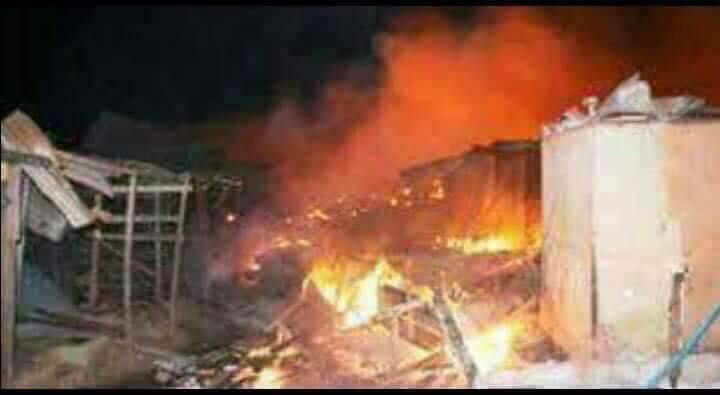 D'important incendie ravage le grand Marché de Madina — Conakry