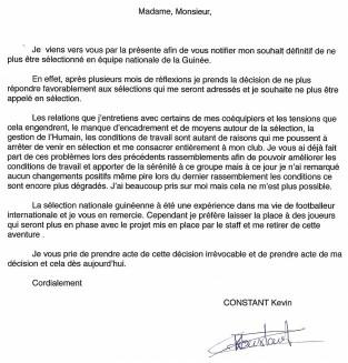 lettre de demission football Syli National de Guinée : Kévin Constant s'en est il allé pour de  lettre de demission football